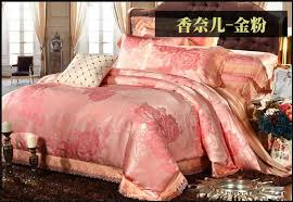 luxury gold pink lace jacquard satin bedding set king queen size duvet cover bedspread bed in a bag sheet bedclothes linen quilt in bedding sets from home
