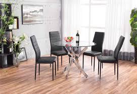 more views novara chrome round glass dining table with 4 black montero dining chairs set