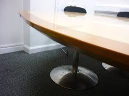 2600 x 2200mm maple cherry nearly round boardroom table ce