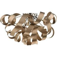 rawley large flush fitting low ceiling light with twirling copper ribbons