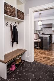 mud room: bench with shoe storage underneath, hooks, high baskets for  additional storage
