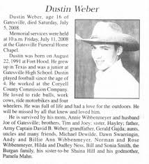 Obituary for Dustin Weber, 1991-2008 (Aged 16) - Newspapers.com