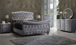 Meridian Bedroom Furniture Hudson Sleigh Bedroom Set In Grey Velvet By Meridian Furniture