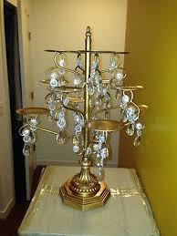 ont treasures antiqued gold crystal 12 cupcake candelabra stand