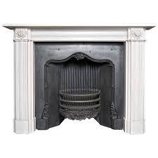 georgian style aged statuary white marble fireplace surround