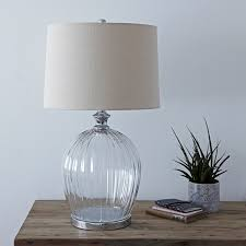 large glass table lamp with ribbed glass base and natural linen drum lampshade