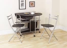 black wooden folding table with grey iron legs and wheels added by double chairs with back and black seat