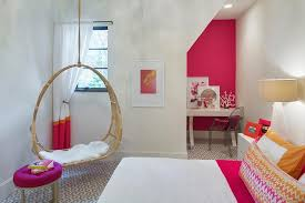 kids hanging chair for bedroom. hot pink and orange girl bedroom with circular hanging rattan chair kids for