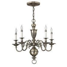 cambridge pewter five light chandelier