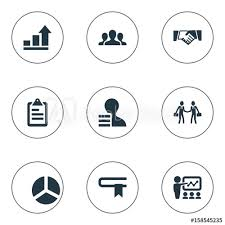 Growth Chart Training Vector Illustration Set Of Simple Solution Icons Elements
