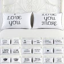 printed pillow cases. Image Is Loading Set-of-2-Couples-Pillow-Cases-Letters-Printed- Printed Pillow Cases Y