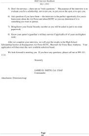 Scholarship Interview Questions Conducting Air Force Rotc High School Scholarship Program