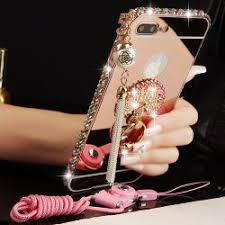mirror iphone 7 plus case. case iphone 7, 7 plus, 8, 8 plus shiny rhinestone diamond bling metal frame + mirror plating back plate tassel for girls iphone 6