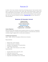 Musician Resume Example Examples Of Resumes Sample Music Template