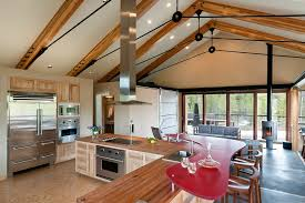 bolted timber truss kitchen modern with stainless vent hood variable sd fan