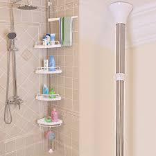 4 Tier Space saving Adjustable Telescopic Bathroom Corner Shower ...