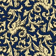 Blue And Gold Design Here There Be Dragons Navy Gold Giftwrap