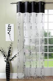 Lovable White Transparent Window Curtain Idea With Endearing Black ...