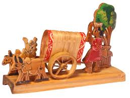 Small Picture Showpiece of a Bullock Cart Handcrafted in Bamboo Unique