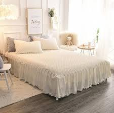 Amazon.com: LIFEREVO Luxury Velvet Dust Ruffle Bed Skirt Diamond ... & LIFEREVO Luxury Velvet Dust Ruffle Bed Skirt Diamond Quilted Bedspread 3  Sided Coverage 18-inch Adamdwight.com
