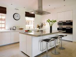 kitchens with islands.  Kitchens A Classic White Kitchen With Stainless Steel Appliances And Modern Bar  Stools Inside Kitchens With Islands I