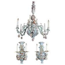 capodimonte porcelain chandelier pink rose italian full size