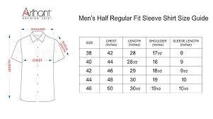 44 Size Shirt Chart Arihant Mens Cotton Linen Formal Shirt