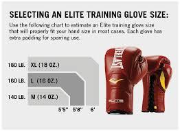 Equipment Sizing Chart Elite Laced Training Gloves