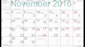 November Through November Calendars Free November 2016 Printable Calendar With Holidays Youtube