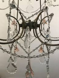 vintage chandelier with pink murano flowers 6