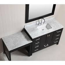 If your bedroom cannot accommodate a independent vanity, then you might do your makeup in the bathroom, and need somewhere to sit. Design Element London 48 In W X 22 In D Vanity In Espresso With Marble Vanity Top In Carrara White Mirror And Makeup Table Dec082c Mut The Home Depot