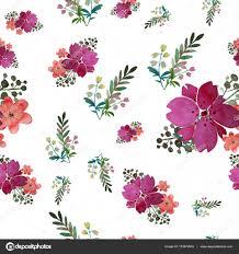 Vector Romantische Naadloze Bloemmotief Met Roze Bloemen En Blad