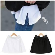 <b>Women</b> Mini Skirt Muslimah Black <b>White Cotton</b> Skirt Extender ...