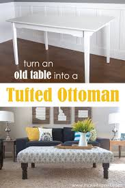 Diy Coffee Table Ottoman Diy Tufted Fabric Ottoman From An Old Table Make It And