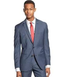 Bar Iii Suit Mid Blue Neat Slim Fit