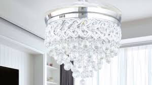 crystal chandelier fan with foldable blades