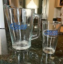 Bud Light Pitcher Bud Light Large Clear Glass Beer Pitcher 48 Oz Pin Glass