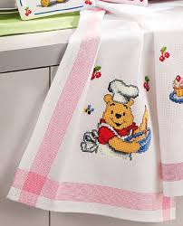 kitchen towel winnie the pooh in the kitchen from vervaco