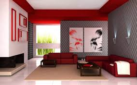 Living Room Contemporary Red Design With Amusing Leather