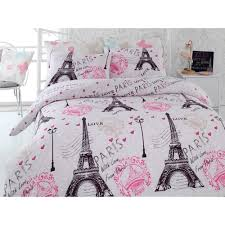 paris eiffel tower pink twin queen bedding duvet cover set in home garden