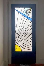 art deco bedroom rising sun stained leaded glass single door