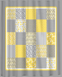 yellow curtains french country patchwork shower curtain yellow grey and white