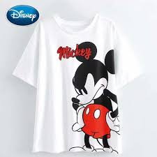 Disney Chuột Mickey Dễ Thương Hoạt Hình In Chữ Kim Sa Lấp Lánh Trắng Áo  Thun Thời Trang Nữ Cổ Tròn Chui Đầu Áo Thun Tay Ngắn In Cao Cấp Áo phông