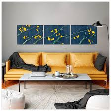 >gold ginkgo leaves triptych nature canvas wall art greenbox gold ginkgo leaves triptych wall art