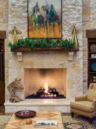 farmhouse living room idea in austin with a standard fireplace and a stone fireplace