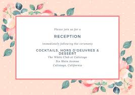 wedding reception card pink flowers and polka dots wedding reception card templates by canva