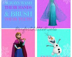 frozen bathroom. frozen princess bathroom wall art, digital file, 4 seperate prints