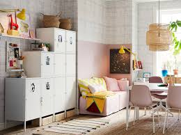 ikea bedroom office. White HÄLLAN Cabinets Placed Against A Side Wall And Used For Storage In Compact Pink Ikea Bedroom Office F