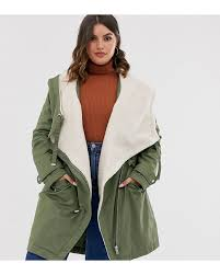 Asos Design Waterfall Parka With Borg Liner Asos Design Curve Waterfall Parka With Borg Lining In Khaki