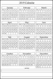 12 Month Calendar On One Page 2019calendar
